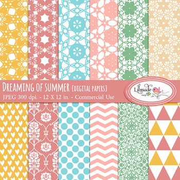 Dreaming of summer commercial use digital papers