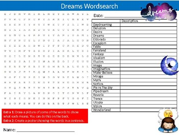 Dreams Wordsearch Sheet Starter Activity Keywords Cover Dreaming Health