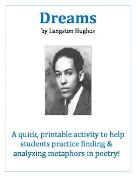 Dreams by Langston Hughes - Poetic Metaphor Activity