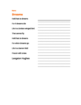 English worksheets: LANGSTON HUGHES POEM MOTHER TO SON Questions ...