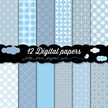 Dreamy Blue - 12 Digital Papers