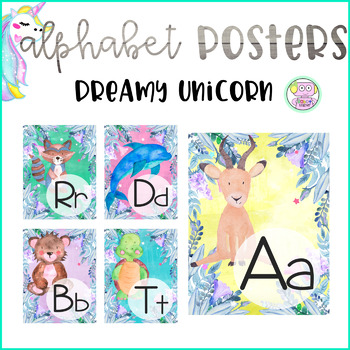 Dreamy Unicorn Watercolor Alphabet Posters