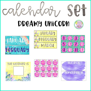 Dreamy Unicorn Watercolor Calendar Set