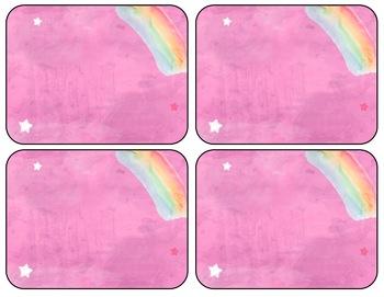 Dreamy Unicorn Watercolor Labels (Editable)