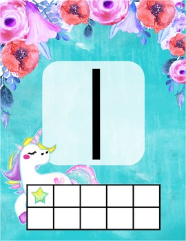 Dreamy Unicorn Watercolor Number Posters