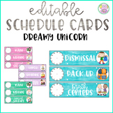 Dreamy Unicorn Watercolor Schedule Cards (Editable)