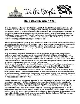 Dred Scott Decision 1857 Article & Assignment