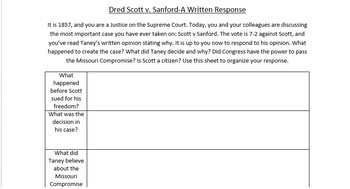Dred Scott Decision Writing Assignment
