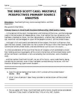 Dred Scott Decision Primary Source Analysis