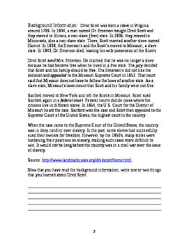 Dred Scott Historical Investigation Worksheet