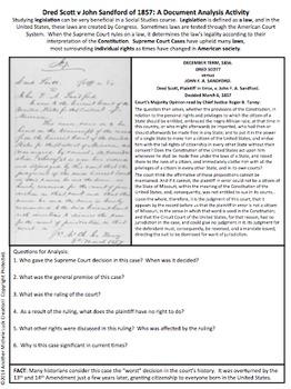 Dred Scott Supreme Court Case Document Analysis Activity Slavery & Citizenship