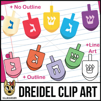 Dreidel Clip Art with Line Art, shows every side