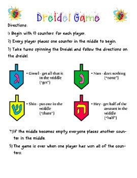 Dreidel Game Directions