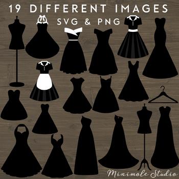 Dress Clipart Set, Fashion Clothing SVG PNG, Prom Dress, Mannequin