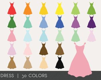 Dress Digital Clipart, Dress Graphics, Dress PNG, Rainbow Dress Digital Files
