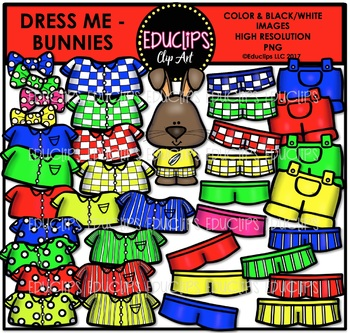 Dress Me ~ Bunnies Clip Art Bundle {Educlips Clipart}