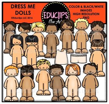 Dress Me Dolls Clip Art Bundle {Educlips Clipart}