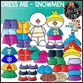 Dress Me Snowman Clip Art Set {Educlips Clipart}