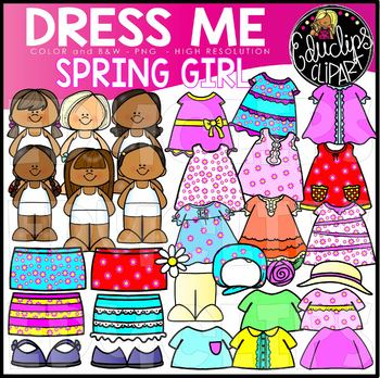 Dress Me - Spring Girl Clip Art Set {Educlips Clipart}