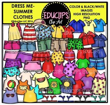 Dress Me ~ Summer Clothes Clip Art Bundle {Educlips Clipart}