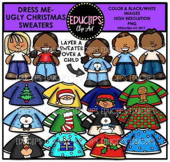 Dress Me - Ugly Christmas Sweaters Clip Art Bundle {Educlips Clipart}