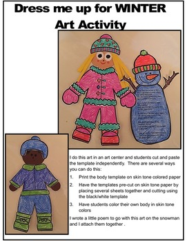 Dress Me Up For Winter-Color, Cut, and Assemble Winter Art Activity