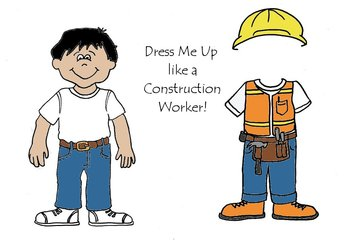 Dress Me Up like a Construction Worker - Community Helpers Paper Dolls