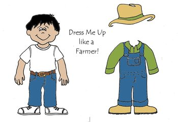 Dress Me Up like a Farmer - Community Helpers Color and Cut Paper Dolls