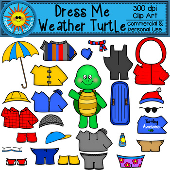 Dress Me Weather Turtles Clip Art