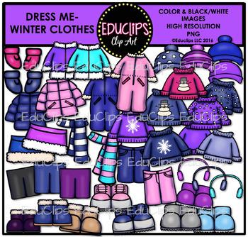 Dress Me ~ Winter Clothes Clip Art Bundle {Educlips Clipart}