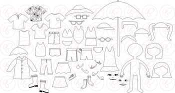 Dress Up for Summer Clothing and Paper Doll Clipart Set by Poppydreamz