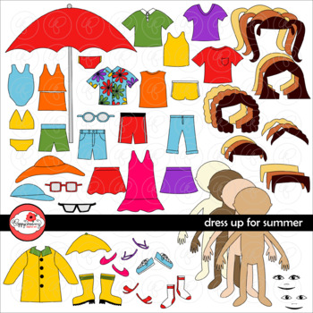 Dress Up for Summer Clothing and Paper Doll Clipart Set by