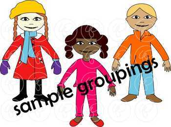 Dress Up for Winter Clothing and Paper Doll Clipart Set by Poppydreamz