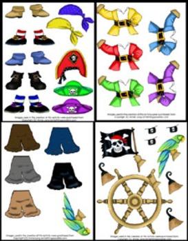 Literacy Center - Dress Your Pirate - beginning reading