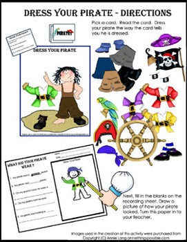 Literacy Center - Dress Your Pirate - beginning reading