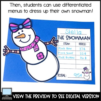 Winter Addition and Money Activities - Dress a Snowman