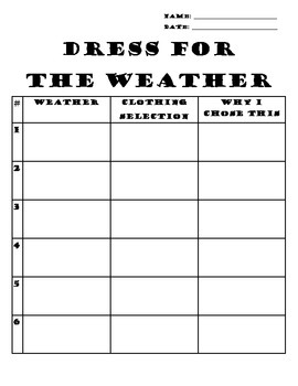 Dress for the Weather Recording Sheet