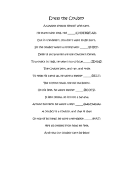 Dress the Cowboy Poem