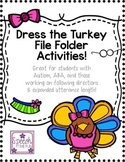 Dress the Turkey File Folder Activities
