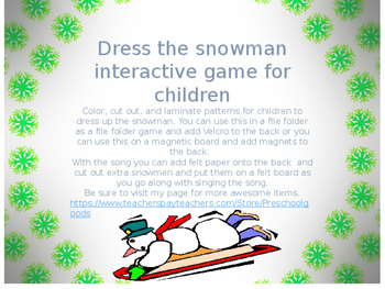 Dress the snowman Game