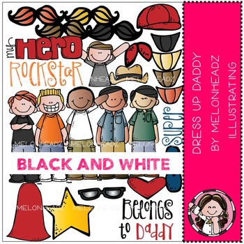 Dress up Daddy clip art - BLACK AND WHITE- by Melonheadz