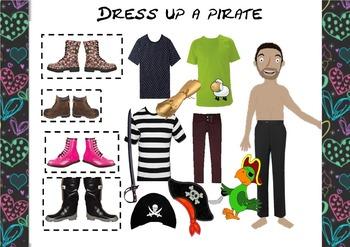 Pirate Activity- Dress Up a Pirate Cut and Stick