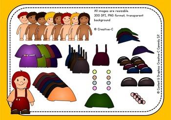 Dress up dolls - Bundle: Clip art and ready to print paper dolls - Children