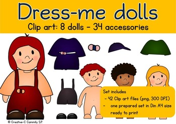 Dress up dolls - Bundle: Clip art and ready to print paper