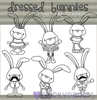 Dressed Bunnies Black Line Clip Art