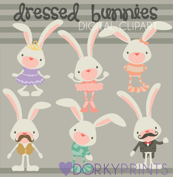 Dressed Bunnies Digital Clip Art