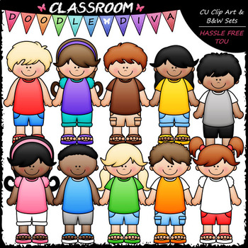 Dressed For Summer Kids - Clip Art & B&W Set