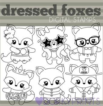 Dressed Foxes Black Line Clip Art
