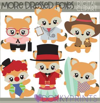 Dressed Foxes Clip Art - Fox Fun Clipart
