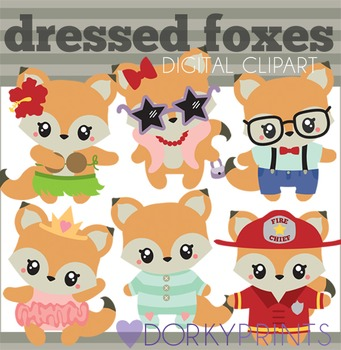 Dressed Foxes Digital Clip Art - Fox in Glasses